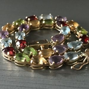 "Jewelry - 14K Gold Pear Multi-Gemstone 7.5"" Tennis Bracelet"